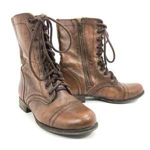Steve Madden Brown Troppa Lace up Combat Boots
